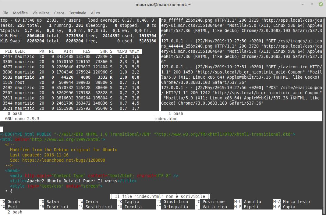 Terminal multiplexing con Screen